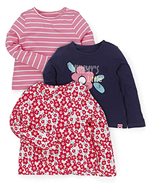 Mothercare Full Sleeves Floral Printed Top Set Of 3 - Pink Navy