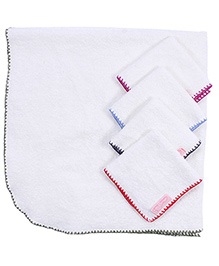 Mumma's Touch Organic Baby Wrap Towel With 4 Baby Face Towels - Assorted Border