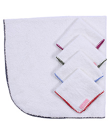 Mumma's Touch Organic Baby Wrap Towel with Grey Border + 4 Assorted Baby Face Towels
