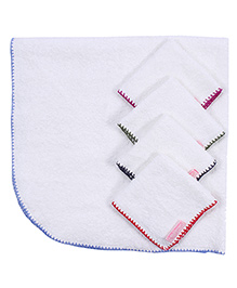 Mumma's Touch Organic Baby Wrap Towel with Blue Border + 4 Assorted Baby Face Towels