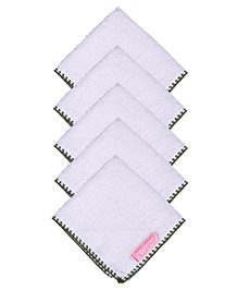Mumma's Touch Organic Baby Face Towel Pack of 5 - Border Green