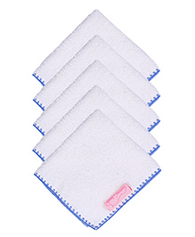 Mumma's Touch Organic Baby Face Towel Pack of 5 - Border Blue