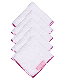 Mumma's Touch Organic Baby Face Towel Pack of 5 - Purple Border