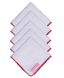 Mumma's Touch Organic Baby Face Towel Pack of 5 - Border Red