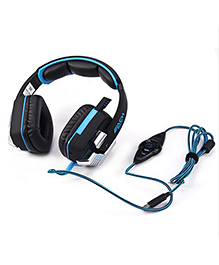 Kotion Each G8200 7.1 Channel USB Over Ear Gaming Headphones For PC With Vibration And LED Lights - Black Blue