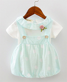 Pre Order - Lil Mantra Polka Print Dungaree Style Frock & Tee - Light Blue