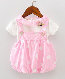 Pre Order - Lil Mantra Polka Print Dungaree Style Frock & Tee - Pink