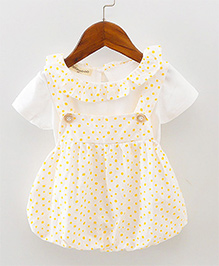 Pre Order - Lil Mantra Tiny Circles Print Dungaree Style Frock & Tee - White