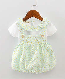 Pre Order - Lil Mantra Tiny Circles Print Dungaree Style Frock & Tee - Mint Green