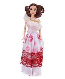 Doll With Printed Cold Shoulder Dress And Brown Hair - Height 29 Cm