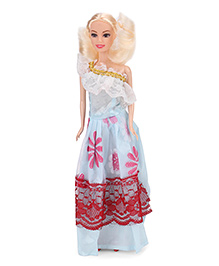 Doll With Printed Cold Shoulder Dress And Golden Hair - Height 29 Cm