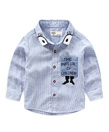 Pre Order - Lil Mantra Striped Shirt With Fancy Collar - Blue & White
