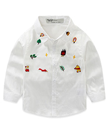 Pre Order - Lil Mantra Plants & Animals Embroidery Shirt - White