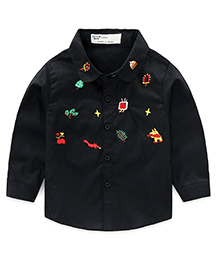 Pre Order - Lil Mantra Plants & Animals Embroidery Shirt - Black