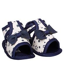 Bootie Pie Sandals Style Booties Bow Applique - White Navy