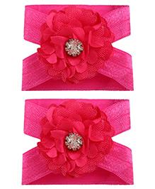 Little Cuddle Flower Design Diamond Applique Barefoot Sandals - Dark Pink