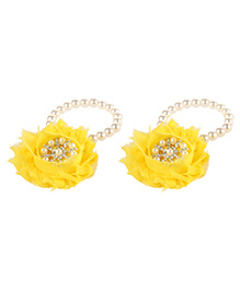 Little Cuddle Flower & Pearl Barefoot Sandals - Yellow