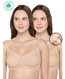 Inner Sense Organic Antimicrobial Feeding & Nursing Bra Pack Of 2 - Beige