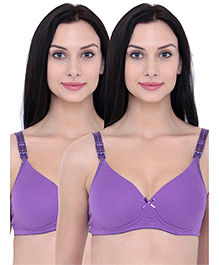 Inner Sense Organic Antimicrobial Nursing Bra Pack Of 2 - Purple
