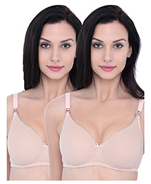 Inner Sense Organic Cotton Antimicrobial Padded Nursing Bra Pack Of 2 - Skin