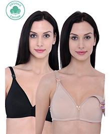 Inner Sense Organic Antimicrobial Nursing Bra Pack Of 2 - Black Beige