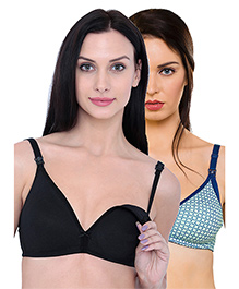 Inner Sense Organic Cotton Antimicrobial Nursing Bras Pack Of 2 - Black Green