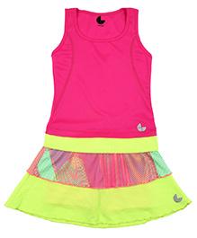 Tyge Set Of Printed Sporty T-Shirt & Skirt - Fushia