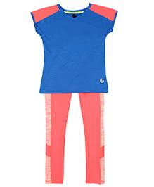 Tyge Set Of Printed T-Shirt & Legging - Peachish Pink & Blue