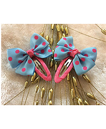 Angel Closet Polka Dots Bow Clips - Blue & Pink