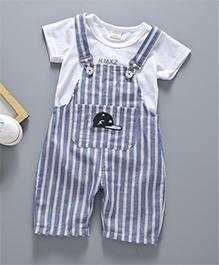 Pre Order - Awabox Vertical Stripe Dungaree & T-Shirt Set - Blue