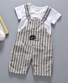 Pre Order - Awabox Vertical Stripe Dungaree & T-Shirt Set - Khaki