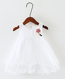 Pre Order - Awabox Flower Applique Frilled Dress - White
