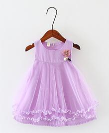 Pre Order - Awabox Flower Applique Frilled Dress - Purple