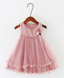 Pre Order - Awabox Flower Applique Frilled Dress - Pink