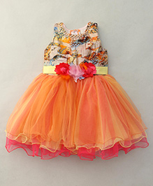 Bluebell Sleeveless Party Wear Frock With Floral Waist Corsage - Orange