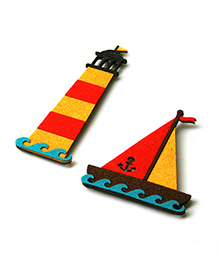 Two For Joy Nautical Fridge Magnets Pack Of 2 - Yellow Red