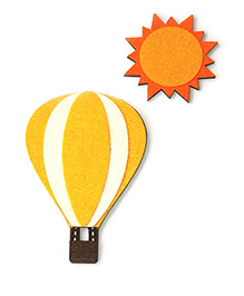 Two For Joy Hot Air Balloon And Sun Fridge Magnets Pack Of 2 - Yellow Orange