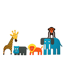 Two For Joy Animals Wall Decal Decor Set Of 4 - Blue Yellow Orange