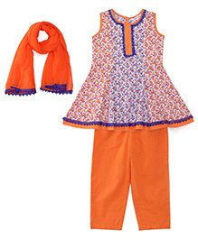 Ribbon N Frill Sleeveless Kurti And Salwaar With Dupatta Floral Print - Blue & Orange