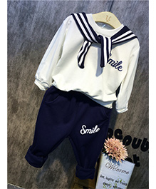 Pre Order - Awabox Sailor Top & Capri Set - White & Navy Blue