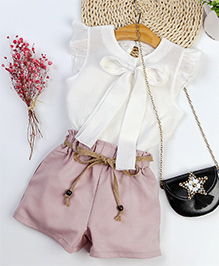 Pre Order - Awabox Knot Tie Top With Shorts Set - White & Pink