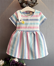 Pre Order - Awabox Colourful Stripe Dress - Pink