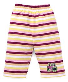 Bodycare Capri Leggings Stripes Print Vehicle Patch - Multicolor