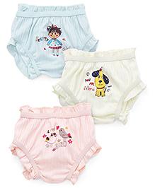Bodycare Multi Printed Panties Set Of 3 - Light Peach Light Lemon Light Blue