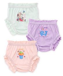 Bodycare Multi Printed Panties Set Of 3 - Light Lemon Light Peach Light Blue