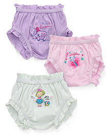 Bodycare Multi Printed Panties Set Of 3 - Light Pink Light Purple Light Green