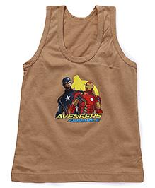 Bodycare Sleeveless Vest Avengers Assemble Print - Brown