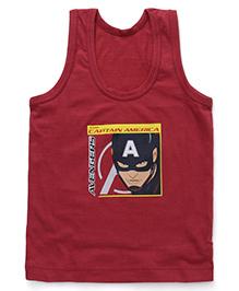 Bodycare Sleeveless Vest Avengers Captain America Print - Maroon