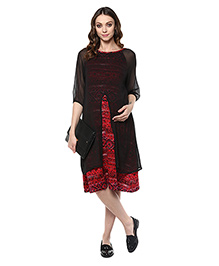 Mine4Nine Three Fourth Sleeves Chevron Print Layered Maternity Dress - Black Red
