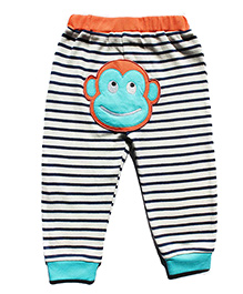 Cuddledoo Full Length Stripes Pajama With Monkey Patch - Multicolor